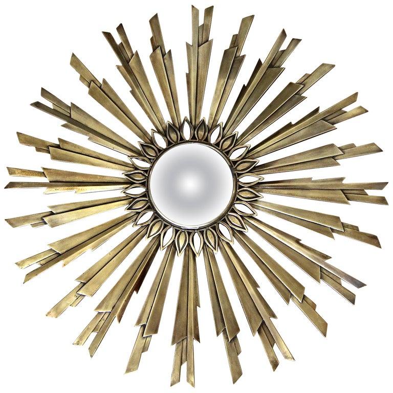 Sunburst Art Deco Bronze Metal Convex Wall Art Mirror