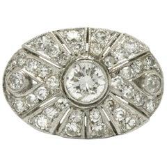 Sunburst Art Deco Diamond Cocktail Ring 1 Carat Filigree Platinum Oval Plaque