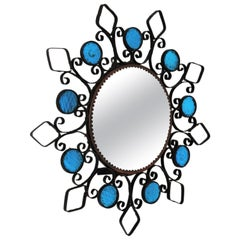 Sunburst Backlit Mirror / Wall Light Fixture in Wrought Iron and Blue Glass