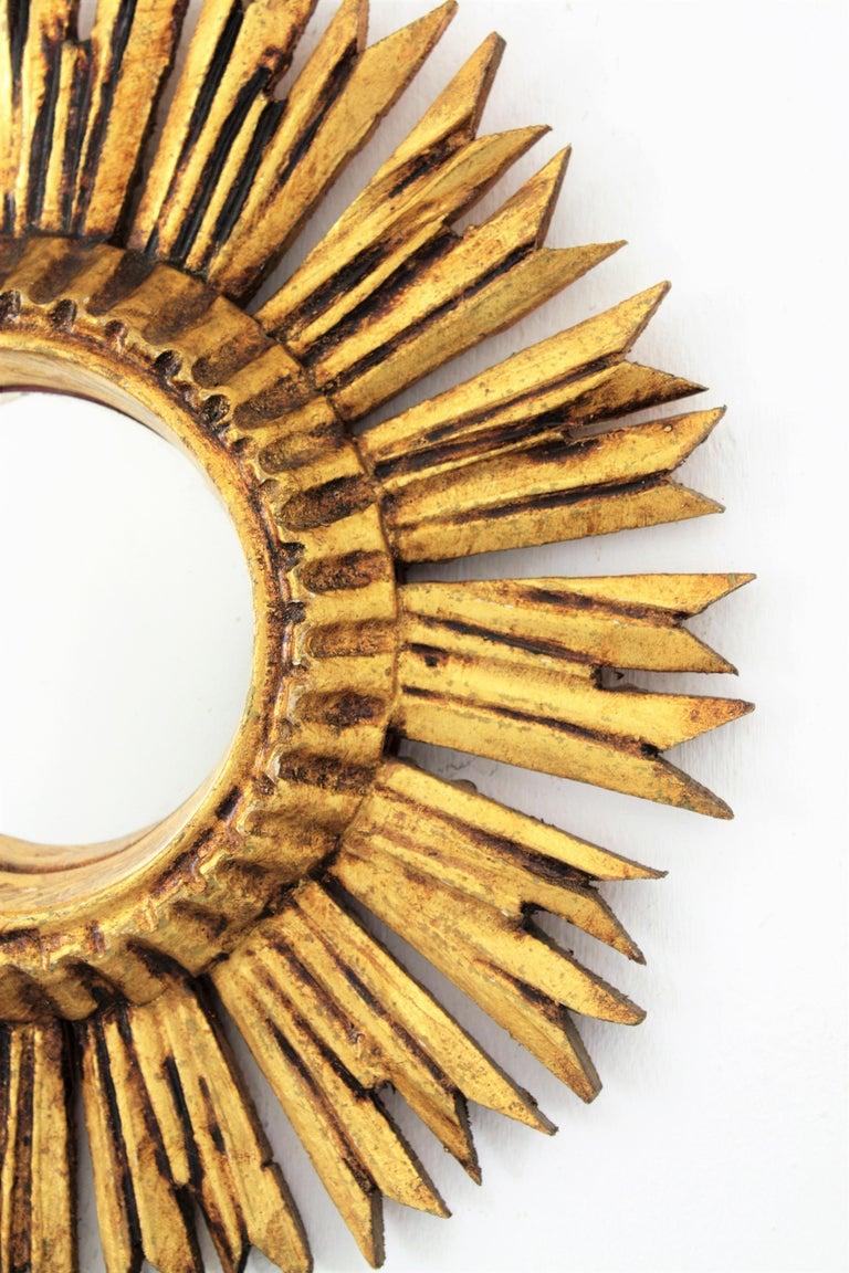 Sunburst Convex Mirror in Giltwood For Sale 1