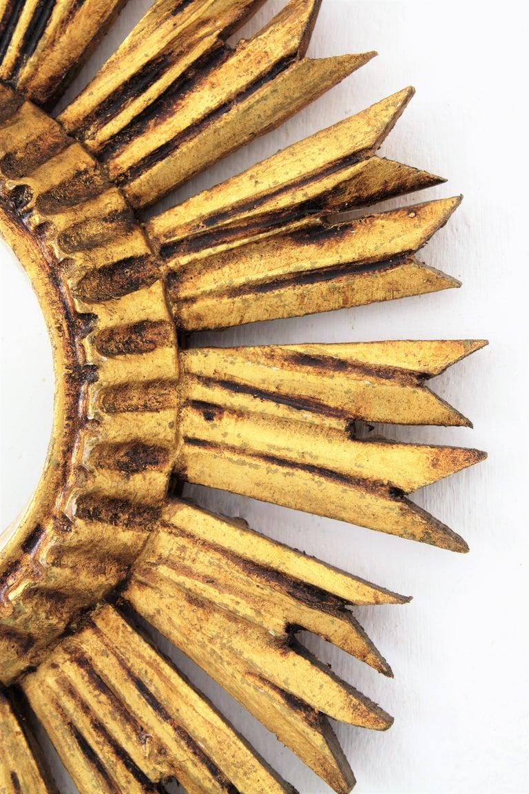 Sunburst Convex Mirror in Giltwood For Sale 2