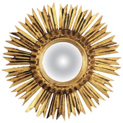 Sunburst Convex Mirror in Giltwood