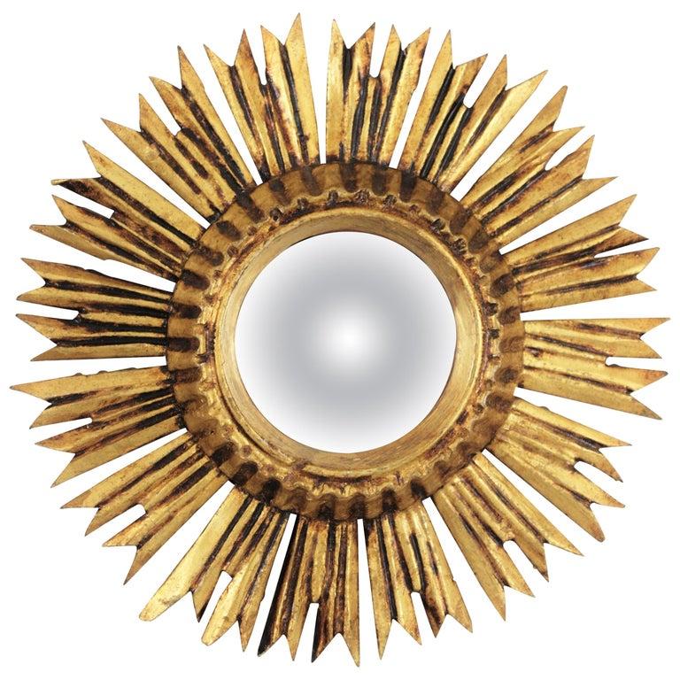 Sunburst Convex Mirror in Giltwood For Sale