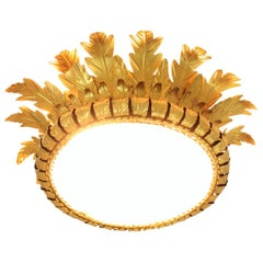 Sunburst Crown Large Flush Mount in Gilt Metal with Frosted Glass, 1950s