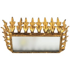 Sunburst Crown Rectangular Flush Mount, Gilt Iron and Frosted Glass