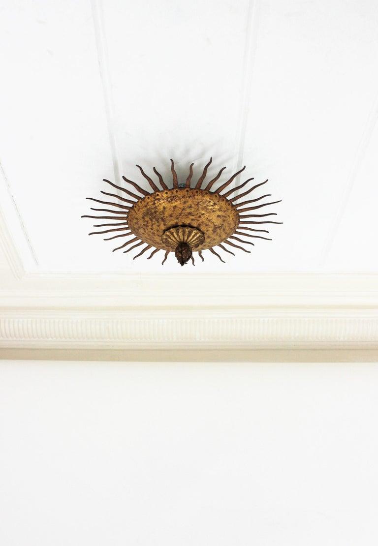 Sunburst Curly Ceiling Light Fixture / Chandelier in Gilt Iron For Sale 4