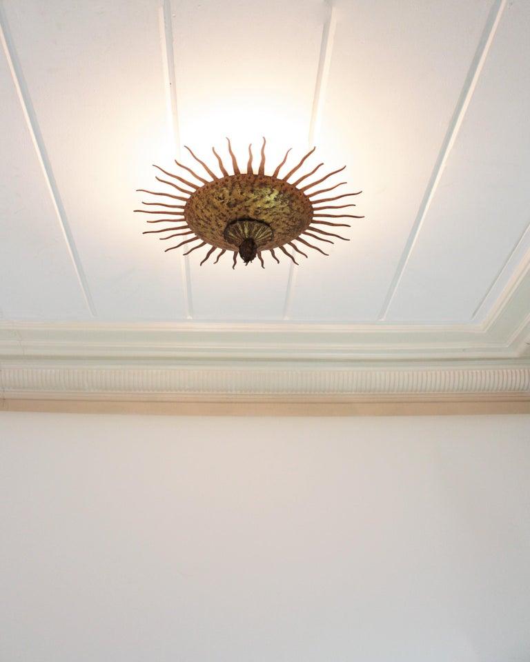 Sunburst Curly Ceiling Light Fixture / Chandelier in Gilt Iron For Sale 5