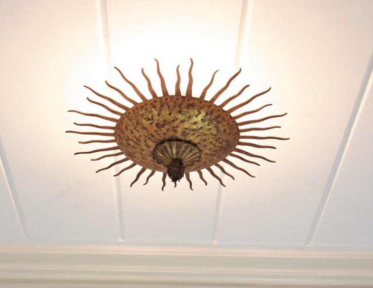 Sunburst Curly Ceiling Light Fixture / Chandelier in Gilt Iron For Sale 7