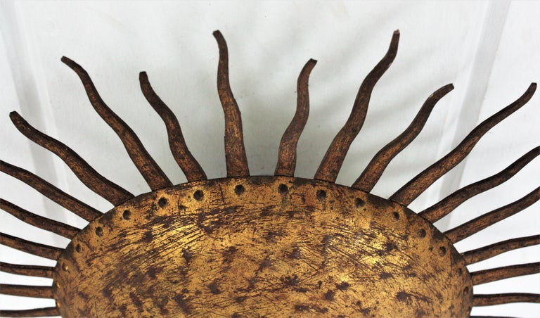 Sunburst Curly Ceiling Light Fixture / Chandelier in Gilt Iron For Sale 10