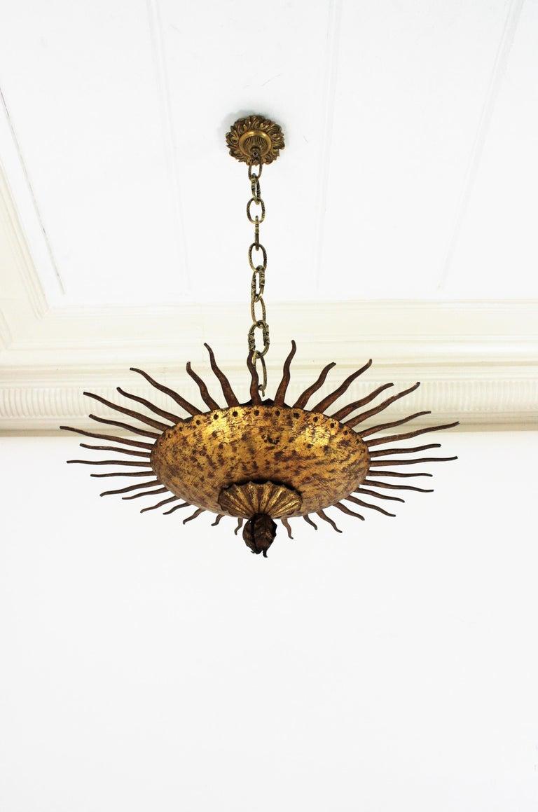 Sunburst Curly Ceiling Light Fixture / Chandelier in Gilt Iron For Sale 13
