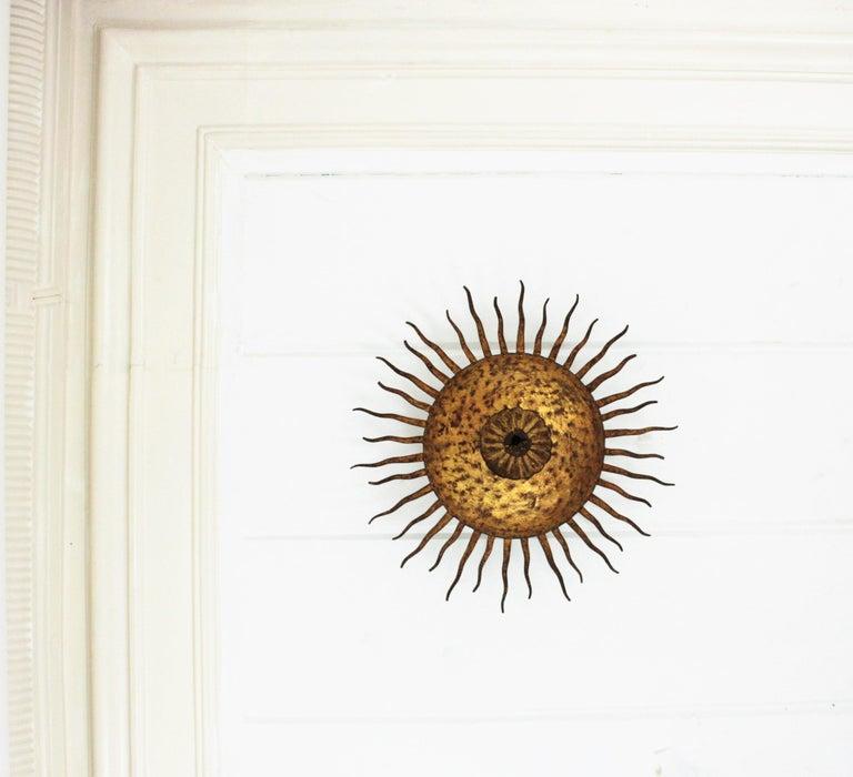 20th Century Sunburst Curly Ceiling Light Fixture / Chandelier in Gilt Iron For Sale