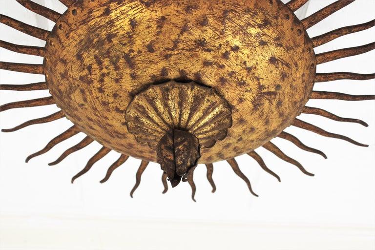 Sunburst Curly Ceiling Light Fixture / Chandelier in Gilt Iron For Sale 2