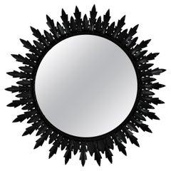 Sunburst Double Layered Mirror in Black Iron