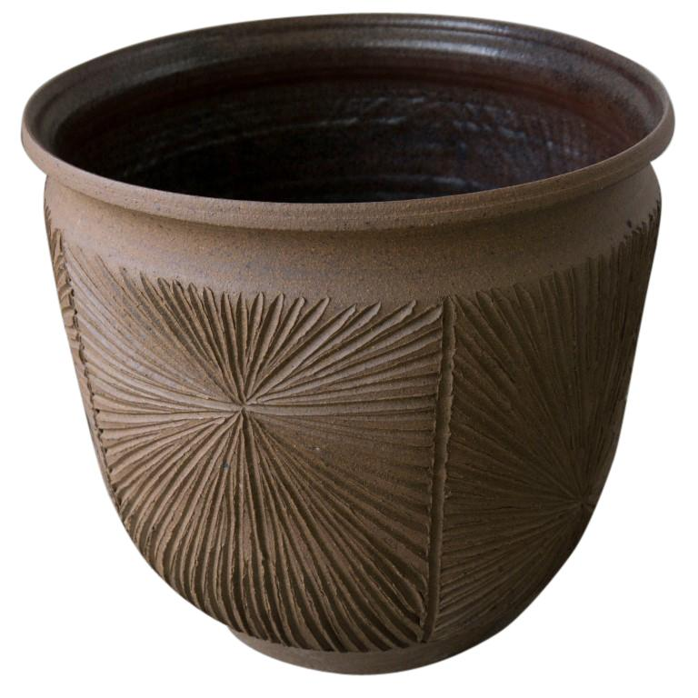Chocolate Brown Sunburst Earthgender Vessel by David Cressey, circa 1970 In Good Condition For Sale In Culver City, CA
