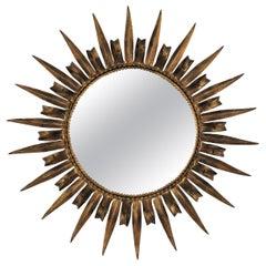 Sunburst Eyelash Gilt Wrought Iron Round Mirror