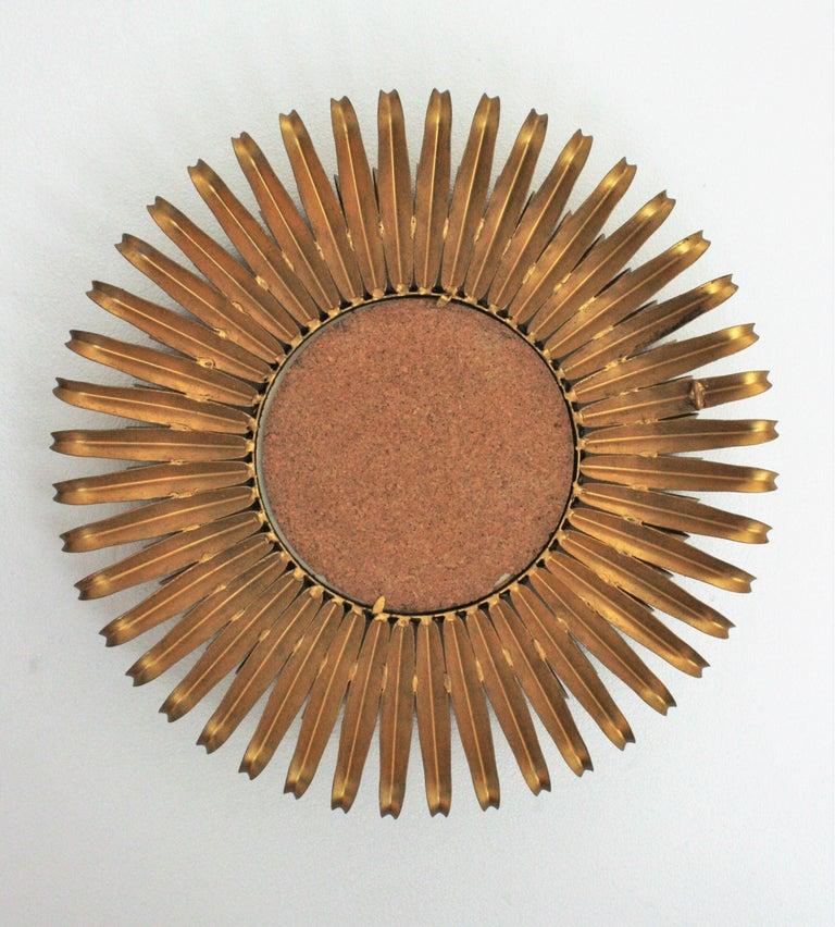Sunburst Eyelash Mirror in Gilt Wrought Iron For Sale 4