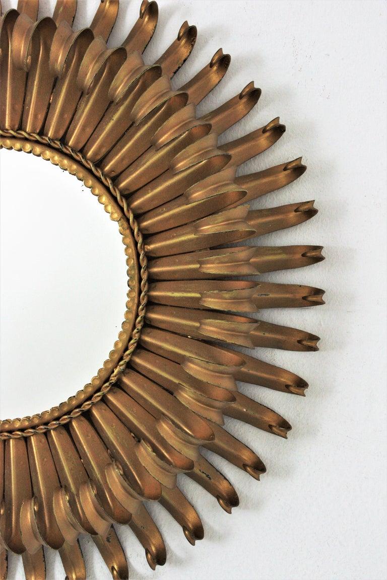 Sunburst Eyelash Mirror in Gilt Wrought Iron For Sale 1