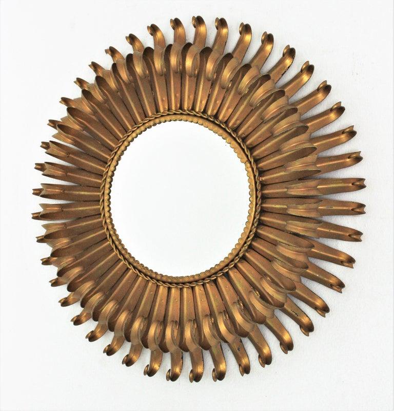 Sunburst Eyelash Mirror in Gilt Wrought Iron For Sale 2