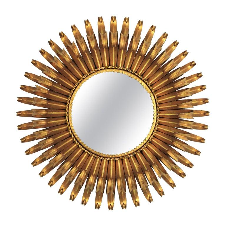 Sunburst Eyelash Mirror in Gilt Wrought Iron For Sale