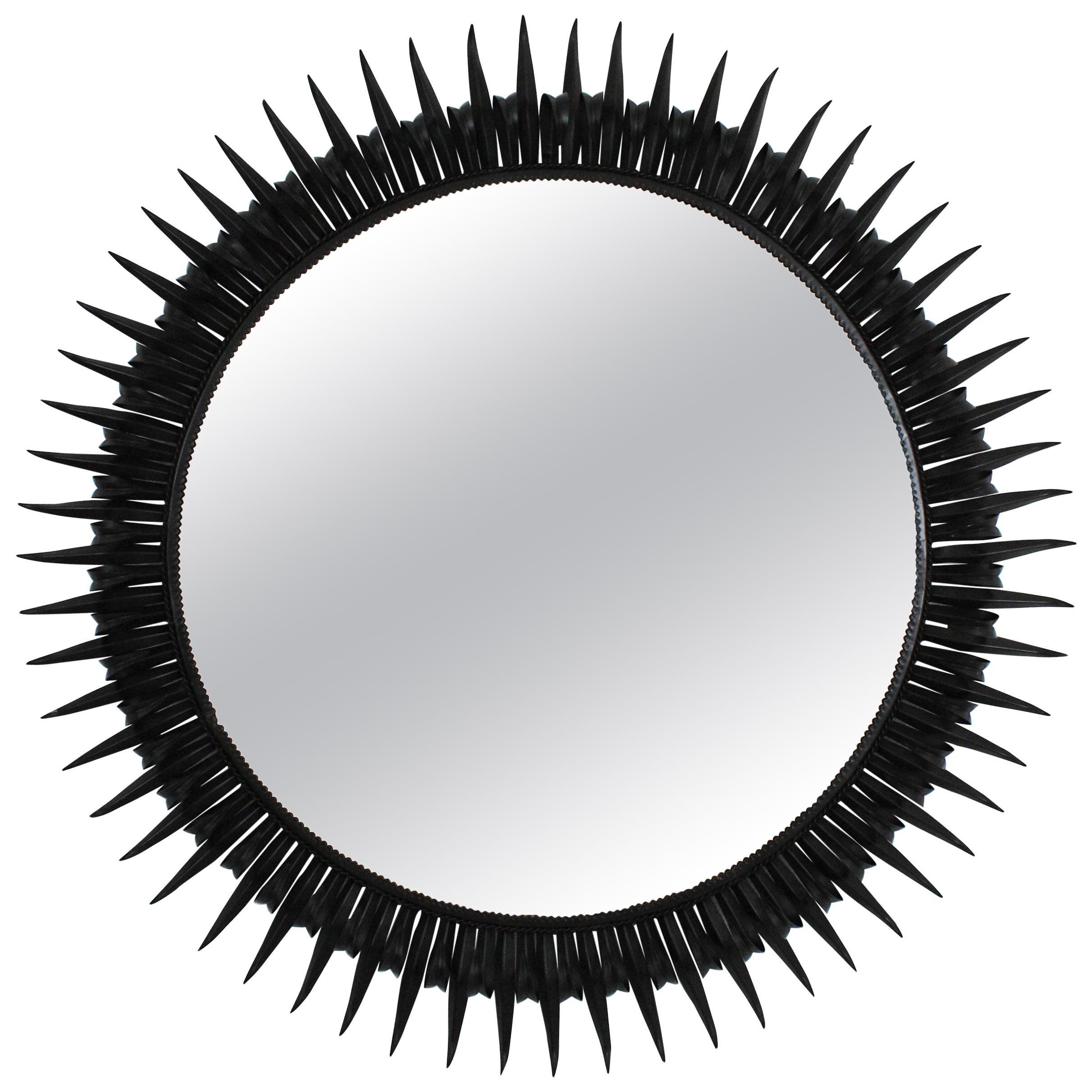 Sunburst Eyelash Mirror in Black Wrought Iron