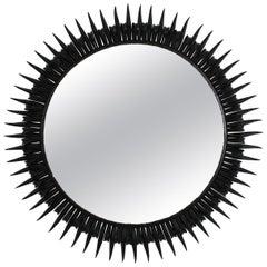 Sunburst Eyelash Wrought Iron Round Wall Mirror in Black Patina