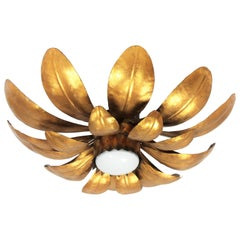 Sunburst Flower Flush Mount Light Fixture or Pendant in Gilt Iron, France, 1950s