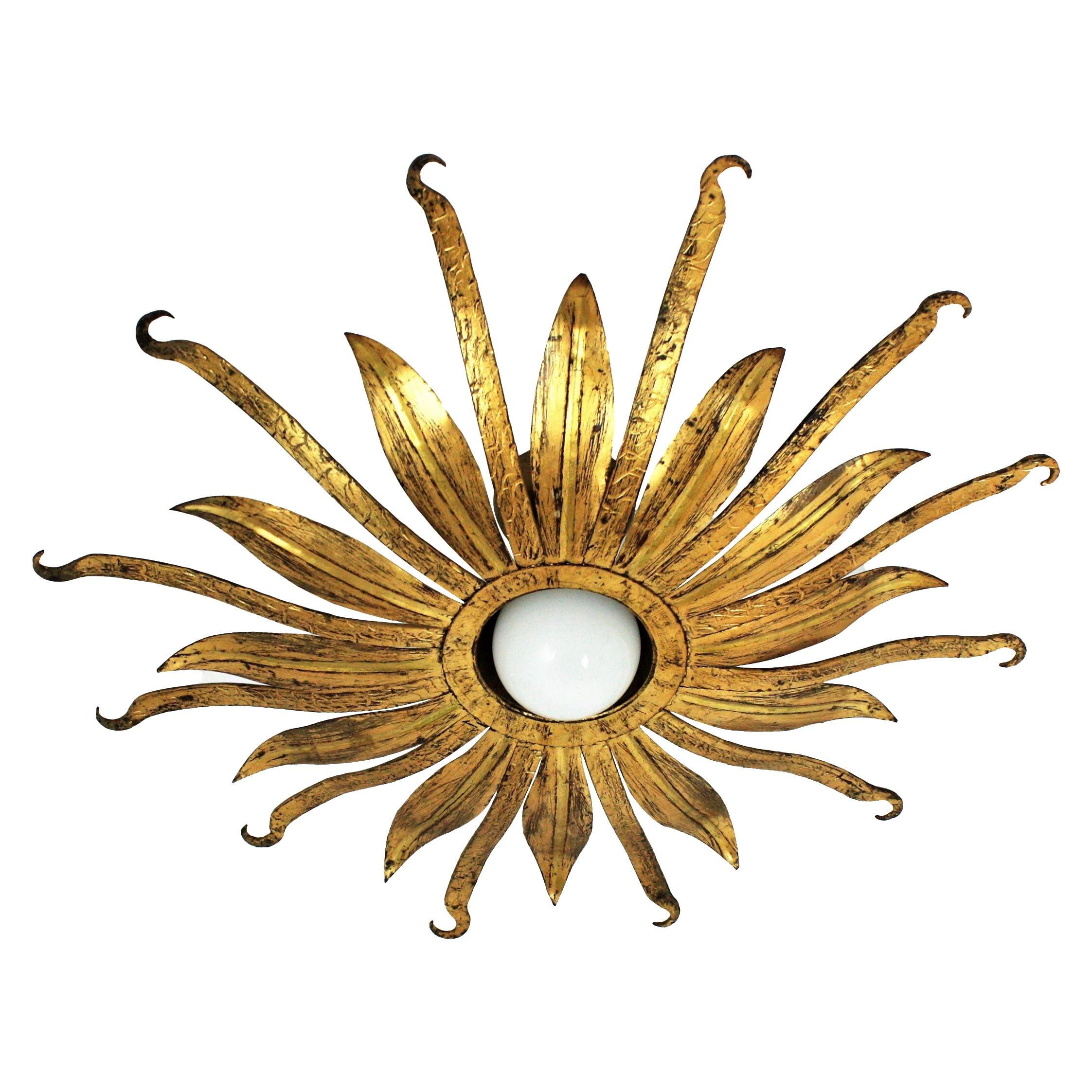Sunburst Flower Light Fixture in Gold Leaf Gilt Metal, 1960s