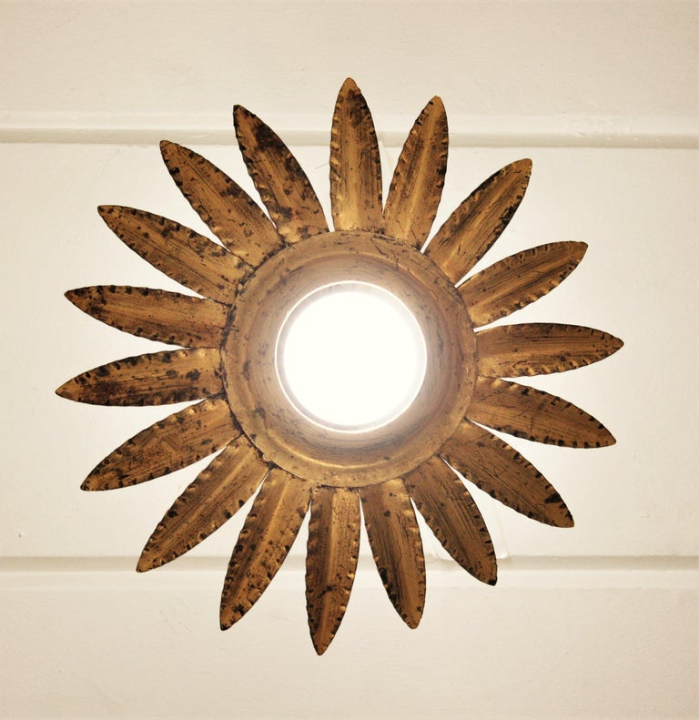 Sunburst Flower Light Fixture or Pendant in Gilt Metal 3
