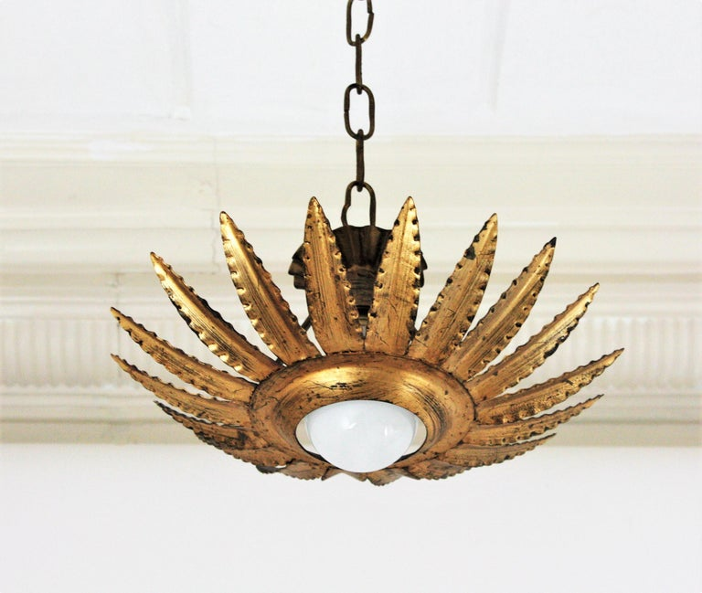 Sunburst Flower Light Fixture or Pendant in Gilt Metal 4