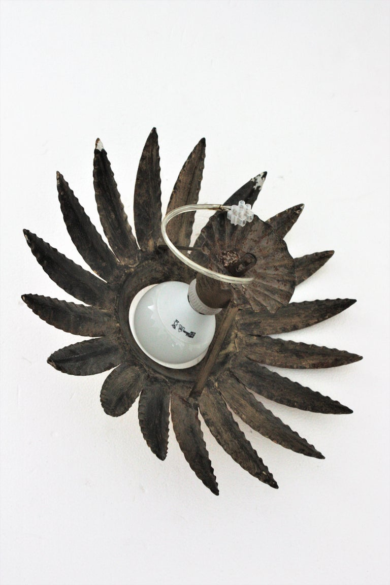Sunburst Flower Light Fixture or Pendant in Gilt Metal 6