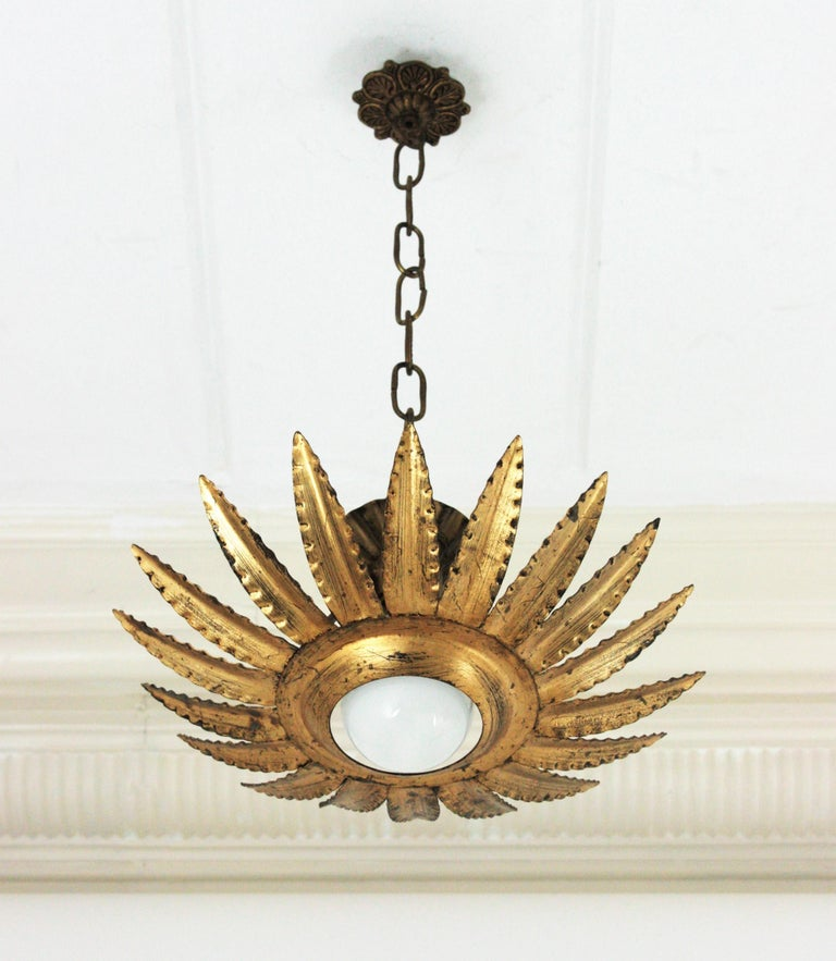 Sunburst Flower Light Fixture or Pendant in Gilt Metal 7