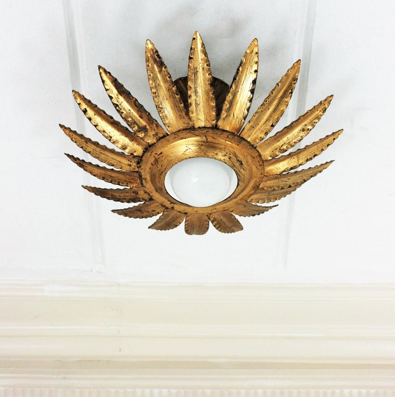 Mid-Century Modern Sunburst Flower Light Fixture or Pendant in Gilt Metal