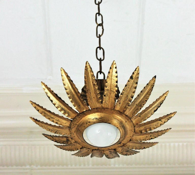 Spanish Sunburst Flower Light Fixture or Pendant in Gilt Metal