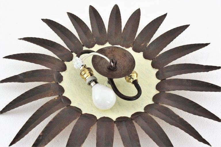 Sunburst Flushmount or Light Fixture or Wall Sconce, Gilt Wrought Iron For Sale 4