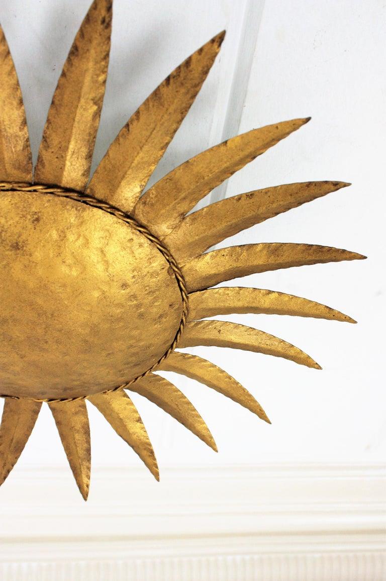 Sunburst Flushmount or Light Fixture or Wall Sconce, Gilt Wrought Iron For Sale 6