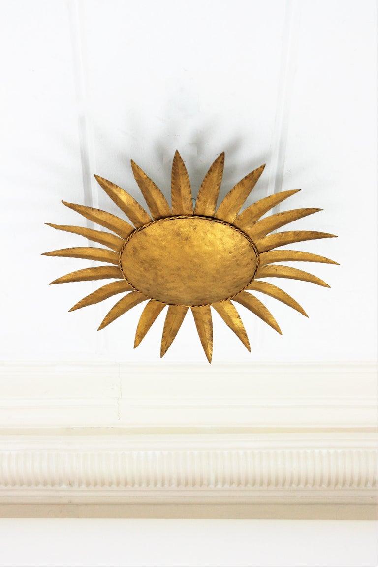 Mid-Century Modern Sunburst Flushmount or Light Fixture or Wall Sconce, Gilt Wrought Iron For Sale