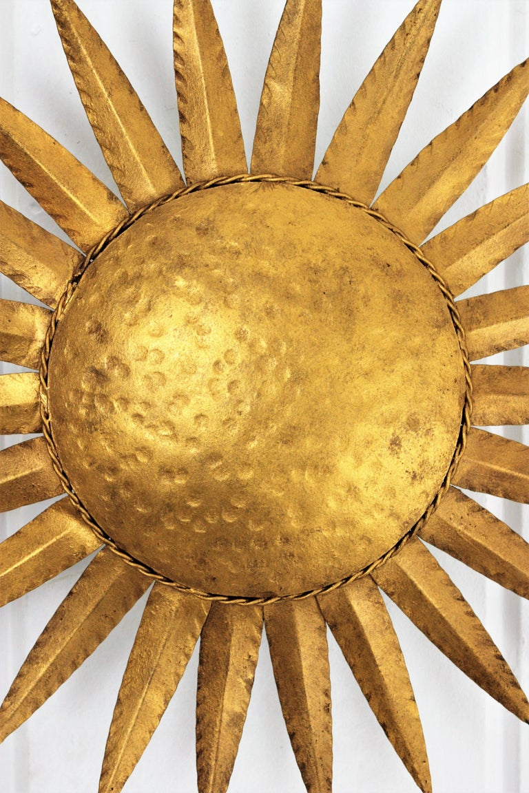 Spanish Sunburst Flushmount or Light Fixture or Wall Sconce, Gilt Wrought Iron For Sale