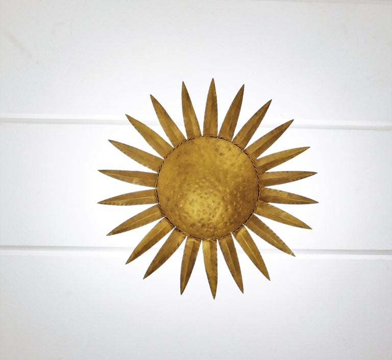 Sunburst Flushmount or Light Fixture or Wall Sconce, Gilt Wrought Iron In Good Condition For Sale In Barcelona, ES