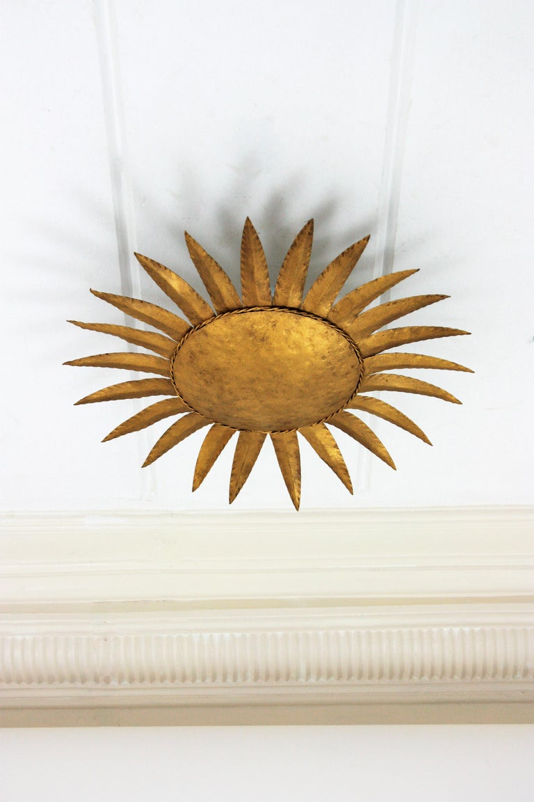 20th Century Sunburst Flushmount or Light Fixture or Wall Sconce, Gilt Wrought Iron For Sale