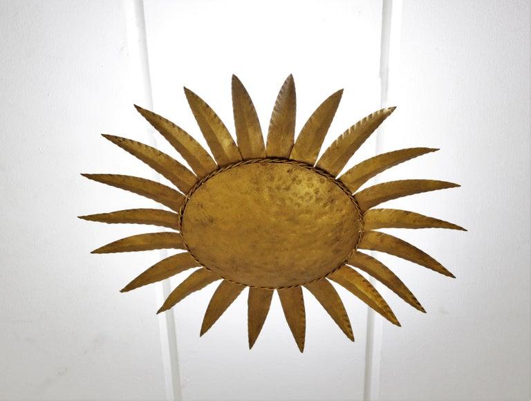 Sunburst Flushmount or Light Fixture or Wall Sconce, Gilt Wrought Iron For Sale 3