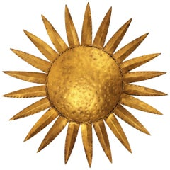 Sunburst Flushmount or Light Fixture or Wall Sconce, Gilt Wrought Iron