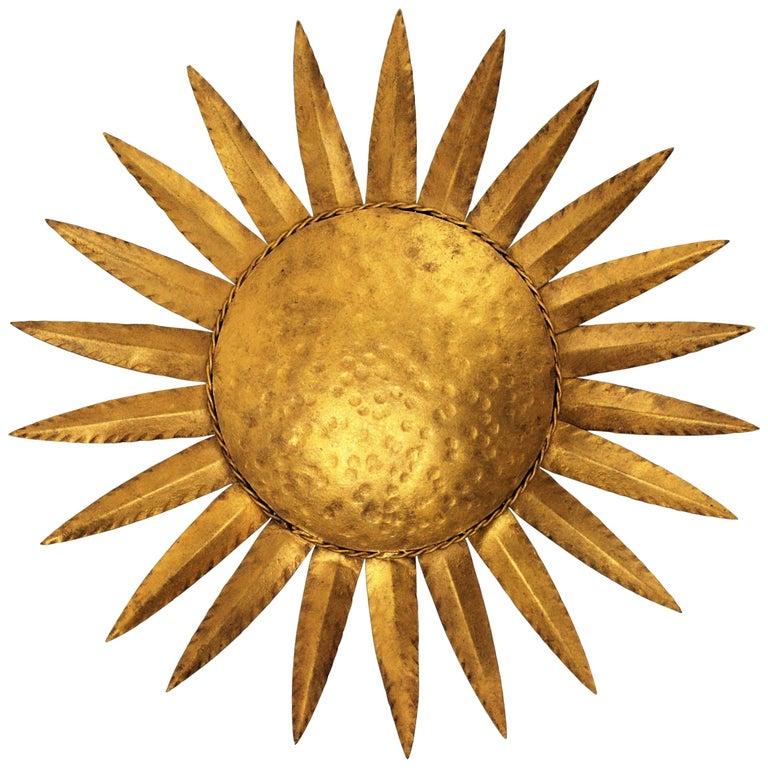 Sunburst Flushmount or Light Fixture or Wall Sconce, Gilt Wrought Iron For Sale