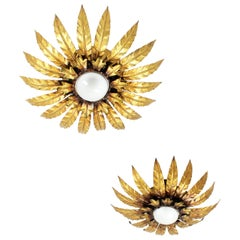 Sunburst Flushmounts or Wall Sconces in Gilt Metal, Leafed Design, Pair
