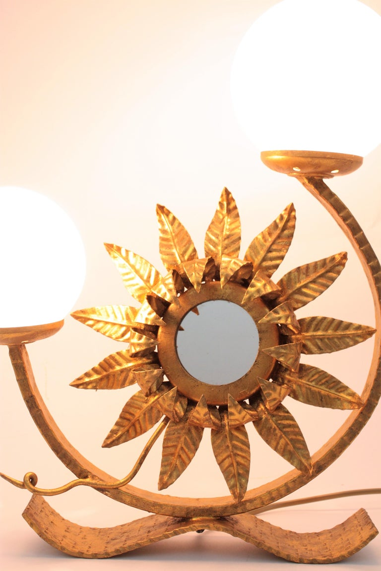 Sunburst Gilt Iron Table Lamp with Mirror and Milk Glass Globes, Spain, 1950s For Sale 2