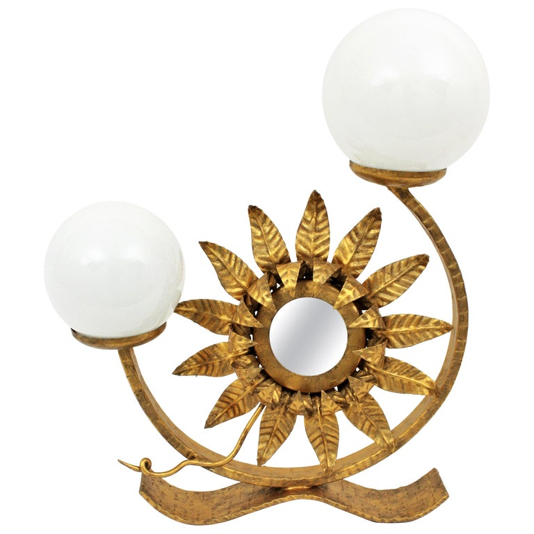 Sunburst Gilt Iron Table Lamp with Mirror and Milk Glass Globes, Spain, 1950s For Sale