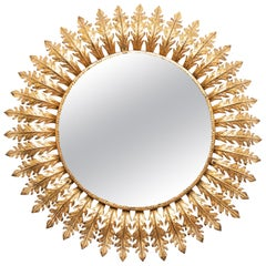 Sunburst Gilt Metal Mirror, Mid 20th Century