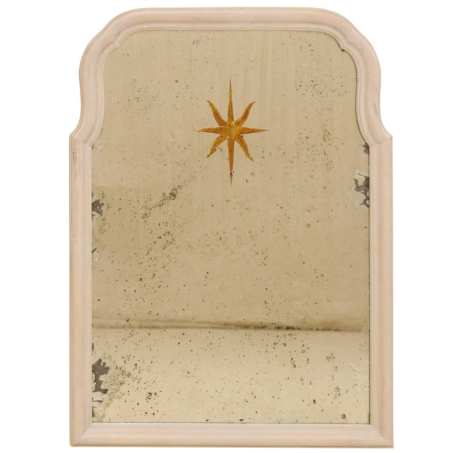 Sunburst Églomisé Antiqued Wall Mirror with Neutral Painted Cream Surround