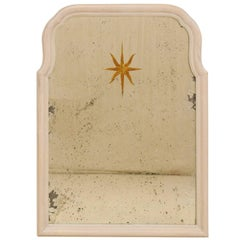 Sunburst Églomisé Antiqued Wall Mirror with Neutral Painted Cream Surround