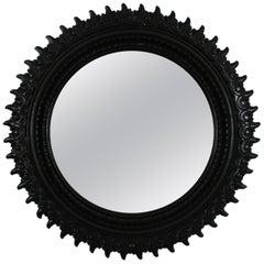 Sunburst Wood Mirror with Black Patina