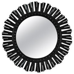 Sunburst Large Wall Mirror in Black Patina, Spain, 1940s